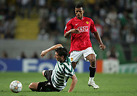 Photo: Paul Thomas.<br /> Sporting Lisbon v Manchester United. UEFA Champions League Group F. 19/09/2007.<br /> <br /> Nani (R) of Utd passes it past Anderson Polga.