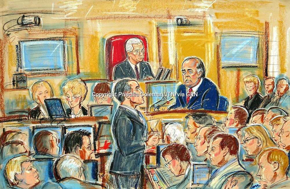 ©PRISCILLA COLEMAN (ITV): 26.08.03.SUPPLIED BY: PHOTONEWS SERVICE LTD:.ARTWORK SHOWS: ANDREW MACKINLAY MP BEING QUESTIONED BY JAMES DINGEMAN QC AT THE HUTTON INQUIRY AT THE HIGH COURT LONDON..ARTWORK BY: PRISCILLA COLEMAN (ITV)