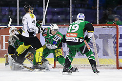 29.01.2013, Hala Tivoli, Ljubljana, SLO, EBEL, HDD Telemach Olimpija Ljubljana vs Dornbirner Eishockey Club, 4. Qualifikationsrunde, in picture Andrew Jacob Kozek (Dornbirner Eishockey Club, #10) vs Jerry Kuhn (HDD Telemach Olimpija, #35) and Ziga Grahut (HDD Telemach Olimpija, #11) during the Erste Bank Icehockey League 2nd Qualification Round match between HDD Telemach Olimpija Ljubljana and Dornbirner Eishockey Club at the Hala Tivoli, Ljubljana, Slovenia on 2013/01/29. (Photo By Matic Klansek Velej / Sportida)