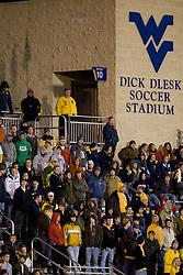 Fans watch from the grandstand as the West Virginia Mountaineers defeated the Virginia Cavaliers 1-0 in the second round of the 2007 NCAA Men's Soccer Tournament at Dick Dlesk Stadium in Morgantown, WV on November 28, 2007.