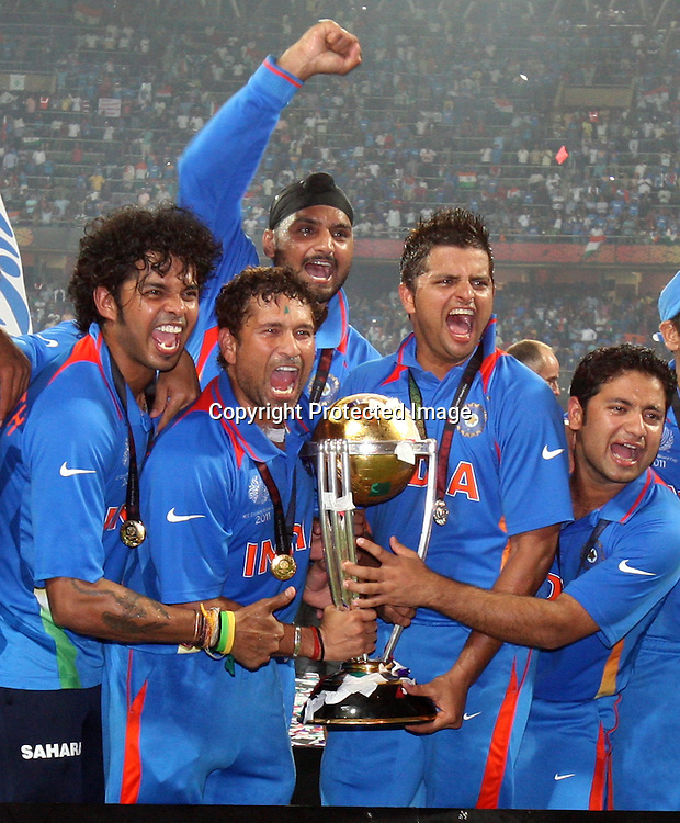 Indian players celebrate winning the final against Sri Lanka at the ICC Cricket World Cup - Final India vs Sri Lanka Played at Wankhede Stadium, Mumbai<br />2 April 2011 - day/night (50-over match)