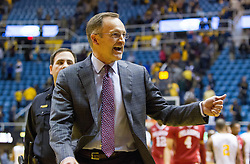 Jan 18, 2017; Morgantown, WV, USA; Oklahoma Sooners head coach Lon Kruger celebrates after beating the West Virginia Mountaineers at WVU Coliseum. Mandatory Credit: Ben Queen-USA TODAY Sports