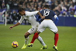 France's Nabil Fekir battling Uruguay's Mathias Suarez during France v Uruguay friendly football match at the Stade de France in Saint-Denis, suburb of Paris, France on November 20, 2018. France won 1-0. Photo by Henri Szwarc/ABACAPRESS.COM