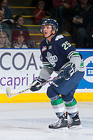 KELOWNA, CANADA - APRIL 3: Ethan Bear #25 of the Seattle Thunderbirds skates against the Kelowna Rockets on April 3, 2014 during Game 1 of the second round of WHL Playoffs at Prospera Place in Kelowna, British Columbia, Canada.   (Photo by Marissa Baecker/Getty Images)  *** Local Caption *** Ethan Bear;