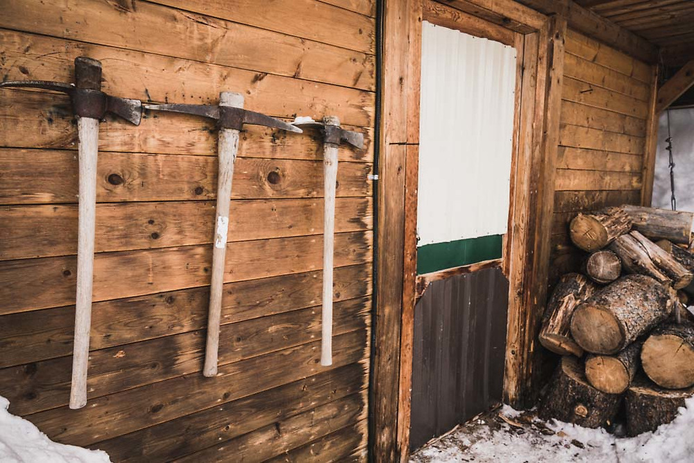 The woodshed at Burnie Glacier Chalet, Howson Range, BC.