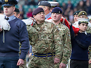 Members of the Armed Forces ready to take a flag out for the Anthems, England v Argentina in an Old Mutual Wealth Series, Autumn International match at Twickenham Stadium, London, England, on 26th November 2016. Full Time score 27-14