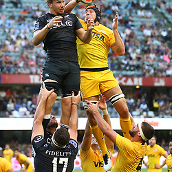Etienne Oosthuizen of the Cell C Sharks and Guido Petti of the Jaguares in the line out during the Super Rugby match between the Cell C Sharks and the Jaguares  April 8th 2017 - at Growthpoint Kings Park,Durban South Africa Photo by (Steve Haag)