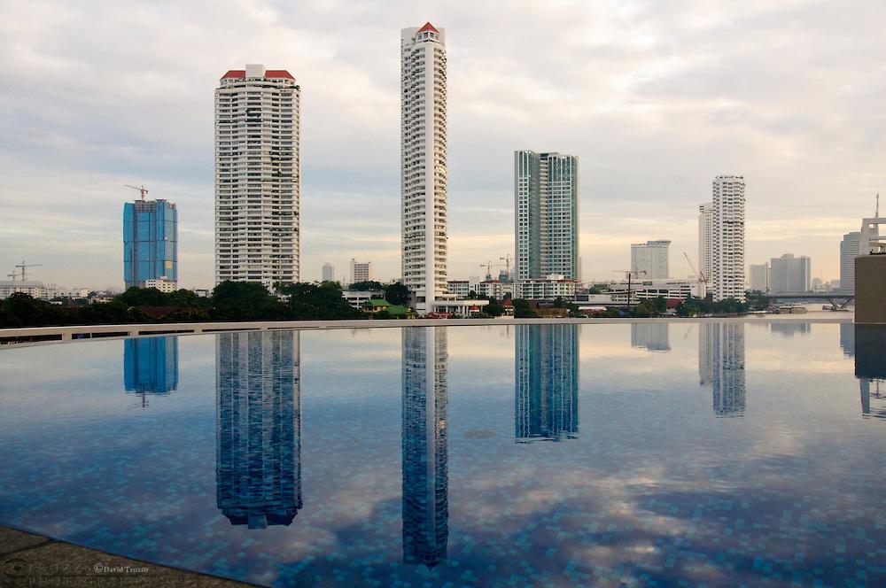 Skyline and pool relfection, Bangkok Thailand.