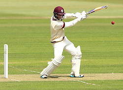 Somerset's Tom Abell strikes the ball into the offside - Photo mandatory by-line: Robbie Stephenson/JMP - Mobile: 07966 386802 - 21/06/2015 - SPORT - Cricket - Southampton - The Ageas Bowl - Hampshire v Somerset - County Championship Division One