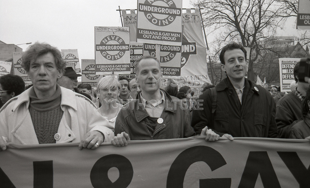 Celebrity Marchers, Anti Clause 28 demonstration, Manchester, 1988