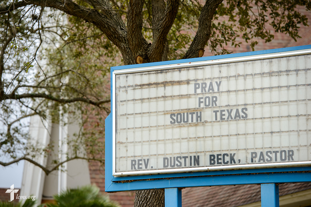 The exterior sign of Trinity Lutheran Church, Corpus Christi, Texas, on Tuesday, Feb. 6, 2018. Recovery work is still underway almost six months after Hurricane Harvey devastated parts of Texas.  LCMS Communications/Erik M. Lunsford