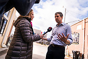 Democratic 2020 presidential candidate Beto O'Rourke, 46, speaks with the media during a three day road trip across Iowa, in Mount Pleasant, Iowa, U.S., March 15, 2019.  REUTERS/Ben Brewer