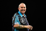 A smiling Phil Taylor during the Premier League Darts  at the Motorpoint Arena, Cardiff, Wales on 31 March 2016. Photo by Shane Healey.