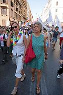 Roma 23 Giugno 2012.GayPride 2012.La Sfilata del Gay pride, la giornatà dell' orgoglio omossessuale per le vie della città. Paola Concia con compagna, la criminologa tedesca Ricarda Trautmann