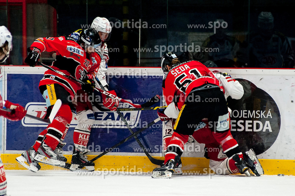 15.03.2015, Ice Rink, Znojmo, CZE, EBEL, HC Orli Znojmo vs EC KAC, 59. Runde, 5. Viertelfinale, im Bild v.l. Jiri Beroun (HC Orli Znojmo), Patrick Harand (EC KAC), Jan Seda (HC Orli Znojmo), Thomas Vallant (EC KAC) // during the Erste Bank Icehockey League 59th round match, 5th quarterfinal between HC Orli Znojmo and EC KAC at the Ice Rink in Znojmo, Czech Republic on 2015/03/15. EXPA Pictures © 2015, PhotoCredit: EXPA/ Rostislav Pfeffer