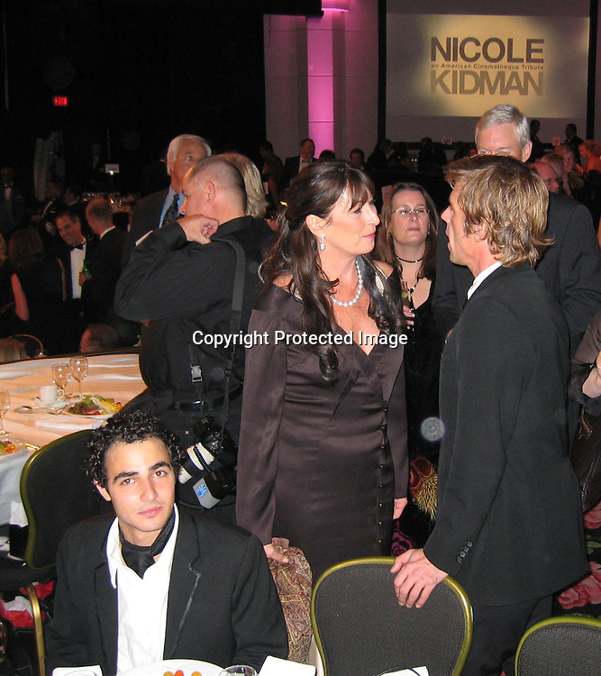 Zac Posen, Angelica Houston<br />**EXCLUSIVE**<br />2003 American Cinematheque Award Honoring Nicole Kidman<br />Beverly Hilton Hotel <br />Los Angeles, CA, 2003<br />Friday, November, 14, 2003<br />Photo By Celebrityvibe.com/Photovibe.com