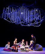 The Hard Problem <br /> by Tom Stoppard directed by Nicholas Hytner <br /> designed by Bob Crowley <br /> at the Dorfman Theatre, NT, Southbank, London, Great Britain <br /> Press photocall<br /> 27th January 2015 <br /> <br /> Parth Thakerer as Amal <br /> Vera Chok as Bo <br /> Lucy Robinson as Ursula <br /> Rosie Hilal as Julia <br /> Olivia Vinall as Hilary <br /> Damien Molony as Spike <br /> <br /> Photograph by Elliott Franks <br /> Image licensed to Elliott Franks Photography Services