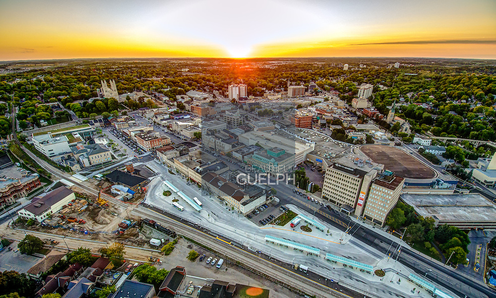 Downtown at Sunset from Above.  Captured with a drone helicopter, this unique vantage point shows the entirety of the downtown core.  Photo by Phil Maurion / Andrew Goodwin / Eye Fly Media Inc.