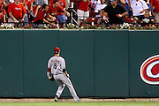 29 June 2010: Arizona Diamondbacks left fielder Cole Gillespie (5) watches as the ball crushed by St. Louis Cardinals first baseman Albert Pujols (5) lands just over the wall during the fifth inning at Busch Stadium in St. Louis, Missouri. The Cardinals shut out the Diamondbacks 8-0.