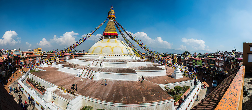 A panoramic view of the Boudhanath Stupa in Kathmandu, Nepal.