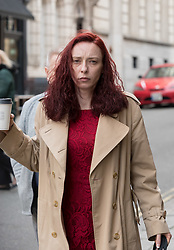 """© Licensed to London News Pictures. FILE PICTURE dated 11/03/2020 of LAURA HAWKINS (beige coat) arriving at Bristol Crown Court. Today 23/03/2020 LAURA HAWKINS, 39, was jailed for 15 months, having been found guilty of permitting a property to be used for the production of a controlled drug of Class B. James Toogood, age 36 was today 23/03/2020 jailed for eight and a half years having been found guilty at Bristol Crown Court of damaging property being reckless as to whether life was endangered when there was an explosion which caused £260,000 worth of damage to a house in Whitchurch Lane, Bristol. James Toogood, who has 14 previous convictions including robbery, was using butane to make a powerful cannabis derivative known as """"shatter"""". He was remanded in custody until sentencing on Monday. Toogood had admitted producing butane hash oil but said he was not doing so on February 23 2019, the date when there was an explosion at the house he was living in, a council flat at 264 Whitchurch Lane. At the house explosion in Whitchurch Lane, three people received minor injuries and were taken to hospital and much of the house was destroyed. A large trampoline was used to help some people escape. Photo credit: Simon Chapman/LNP."""