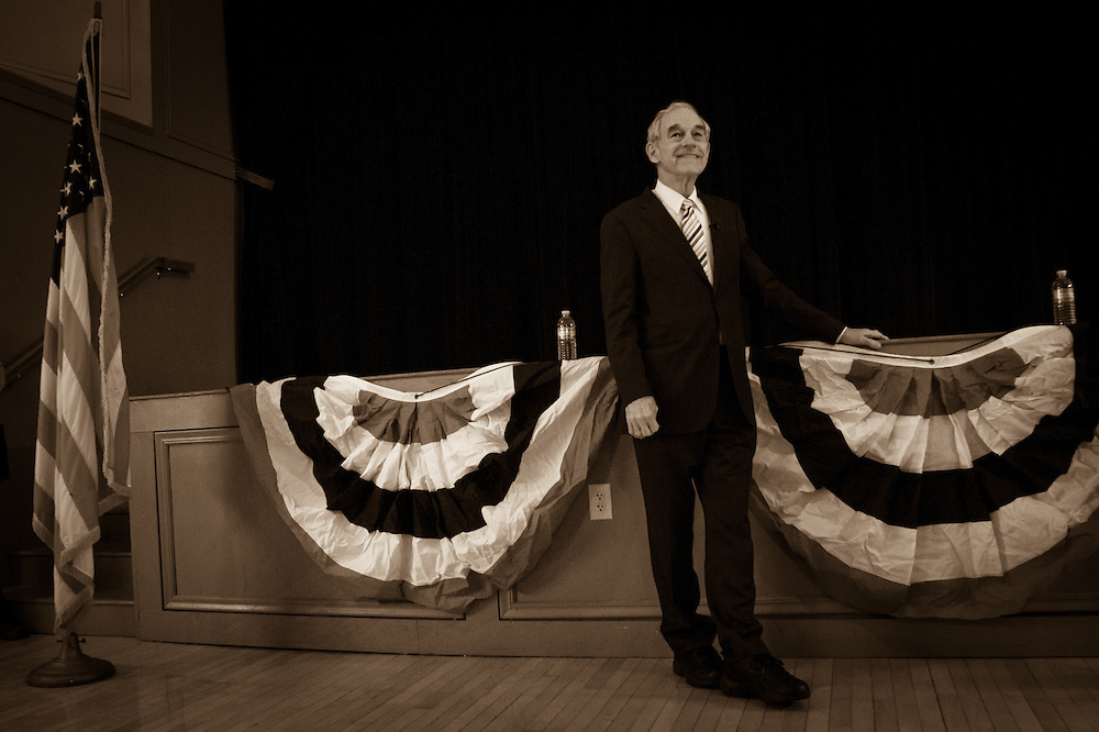 Presidential hopeful, Republican Congressman Ron Paul of Texas holds a Town Hall meeting in the Exeter Town Hall in Exeter, NH.