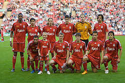 LIVERPOOL, ENGLAND - Wednesday, May 7, 2008: Liverpool's players line-up before the play-off final of the FA Premier League Reserve League against Aston Villa at Anfield. Back row L-R: Damien Plessis, Emiliano Insua, Lucas Levia, Mikel San Jose Dominguez, goalkeeper Peter Gulacsi, Jordy Brouwer. Front row L-R: Nabil El Zhar, captain Stephen Darby, Ryan Flynn, Krisztian Nemeth, Ronald Huth. (Photo by David Rawcliffe/Propaganda)