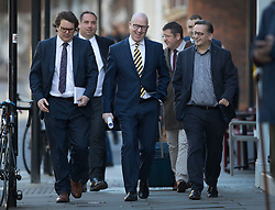 © Licensed to London News Pictures. 28/11/2016. London, UK. Paul Nuttall (C) arrives at the Emmanuel Centre in Westminster London - just before he is announced as the new leader of the UK Independence Party (UKIP). Photo credit: Peter Macdiarmid/LNP