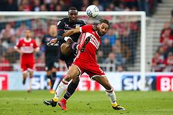 Jonathan Kodjia of Aston Villa challenges Ryan Shotton of Middlesbrough - Mandatory by-line: Robbie Stephenson/JMP - 12/05/2018 - FOOTBALL - Riverside Stadium - Middlesbrough, England - Middlesbrough v Aston Villa - Sky Bet Championship