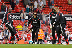 Liverpool, England - Saturday, September 1, 2007: Liverpool's substitutes Momo Sissoko, Yossi Benayoun, goalkeeper Charles Itandje and John Arne Riise warm-up before the Premiership match against Derby County at Anfield. (Photo by David Rawcliffe/Propaganda)