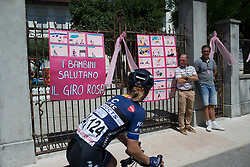 Emilie Moberg (NOR) of Hitec Products Cycling Team rides past sign made by local school children before Stage 2 of the Giro Rosa - a 122.2 km road race, between Zoppola and Montereale Valcellina on July 1, 2017, in Pordenone, Italy. (Photo by Balint Hamvas/Velofocus.com)