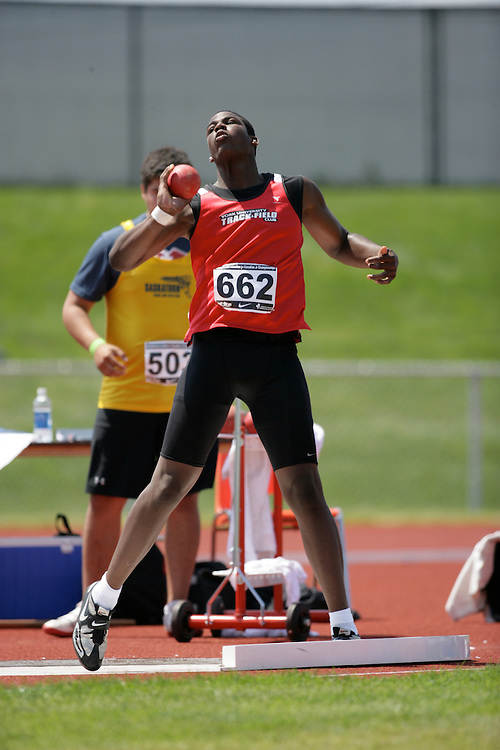 (Charlottetown, Prince Edward Island -- 20090719) Eric Braithwaite of York University Track & F competes in the shot put final at the 2009 Canadian Junior Track & Field Championships at UPEI Alumni Canada Games Place on the campus of the University of Prince Edward Island, July 17-19, 2009.  Copyright Sean Burges / Mundo Sport Images , 2009.