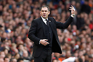 Swansea City Manager Paul Clement reacts on the touchline. Premier league match, Arsenal v Swansea city at the Emirates Stadium in London on Saturday 28th October 2017.<br /> pic by Steffan Bowen, Andrew Orchard sports photography.