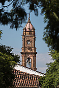 The Immaculate Conception Santa Clara church steeple in Santa Clara del Cobre, Michoacan, Mexico.