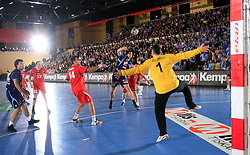 David Spiler vs goalkeeper Neven Velizarov at handball match of 5th Round of qualifications for EHF Euro 2010 in Austria between National team of Slovenia vs Bulgaria, on November 30, 2008 in Velenje, Slovenia. (Photo by Vid Ponikvar / Sportida)