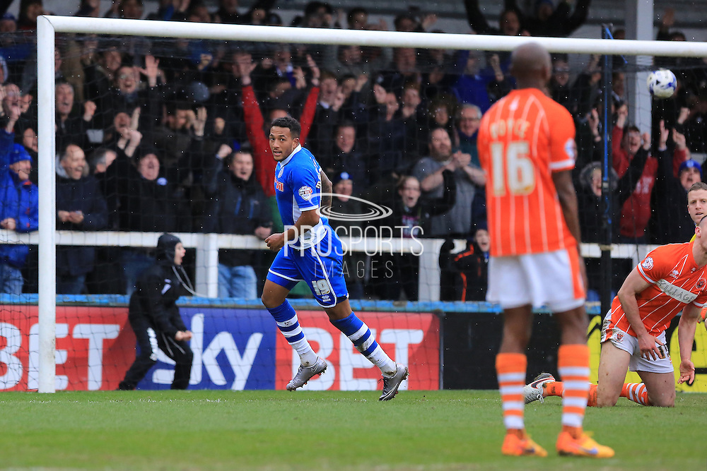 Nathaniel Mendez-Laing scores 3-0 during the Sky Bet League 1 match between Rochdale and Blackpool at Spotland, Rochdale, England on 16 April 2016. Photo by Daniel Youngs.