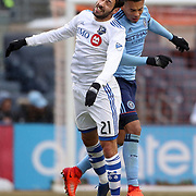 NEW YORK, NEW YORK - March 18:  Matteo Mancosu #21 of Montreal Impact is challenged by Alexander Callens #6 of New York City FC  during the New York City FC Vs Montreal Impact regular season MLS game at Yankee Stadium on March 18, 2017 in New York City. (Photo by Tim Clayton/Corbis via Getty Images)