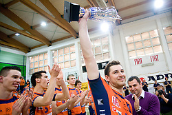 Andrej Flajs of ACH with a Trophy and Igor Dolinsek  after the final match of Slovenian National Volleyball Championships between ACH Volley Bled and Salonit Anhovo, on April 24, 2010, in Radovljica, Slovenia. ACH Volley defeated Salonit 3rd time in 3 Rounds and became Slovenian National Champion.  (Photo by Vid Ponikvar / Sportida)