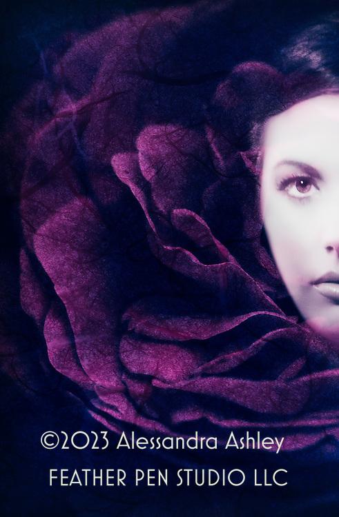 Floral fashion portrait composite with velvety plum-hued rose petals plus handmade paper texture.