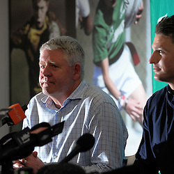 Beauden Barrett announces his resigning with the All Blacks, Hurricanes and Taranaki RFU, as NZ Rugby chief executive Steve Tew (left) listens at the New Zealand Rugby Union Head Office, Wellington, New Zealand on Monday, 29 August 2016. Photo: Dave Lintott / lintottphoto.co.nz