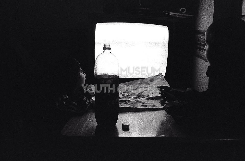 Kids watching a blank TV screen Newport South Wales