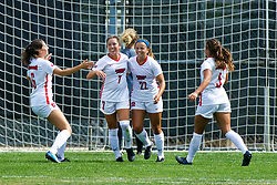 NORMAL, IL - August 10:  Sarah Lafayette, Hannah Mueller, Abby Basler and Mikayla Unger celebrate a goal by Abby Basler during a nonconference exhibition women's soccer match between the Southern Illinois Edwardsville Cougars and the Illinois State Redbirds August 10 2019 on Adelaide Street Field in Normal IL (Photo by Alan Look)