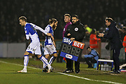 Bristol Rovers Chris Lines (14) comes on for  Bristol Rovers Stuart Sinclair (24)  during the EFL Sky Bet League 1 match between Bristol Rovers and Doncaster Rovers at the Memorial Stadium, Bristol, England on 23 December 2017. Photo by Gary Learmonth.