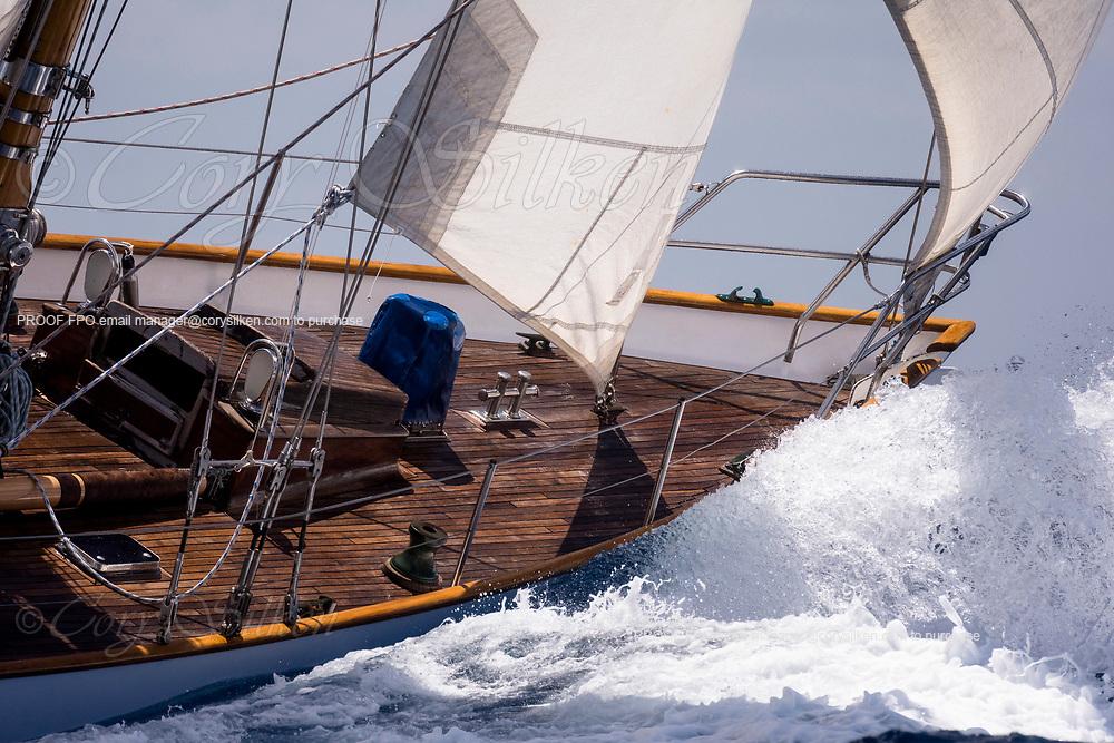 Peter von Seestermuhe sailing in the Antigua Classic Yacht Regatta, Old Road Race.