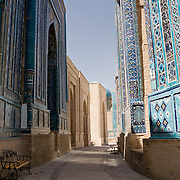 Pathway through the tombs at Shah-i-Zinda necropolis, Samarkand