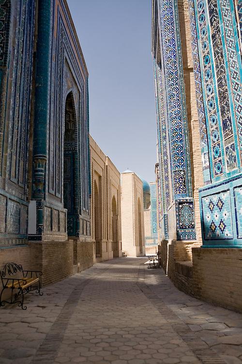 Pathway through the tombs at Shah-i-Zinda necropolis, Samarkand