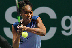 SINGAPORE, Oct. 24, 2017  Venus Williams of United States competes during the group match against Jelena Ostapenko of Latvia at WTA Finals tennis tournament in Singapore, Oct. 24, 2017. (Credit Image: © Then Chih Wey/Xinhua via ZUMA Wire)