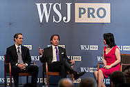 Panel discussion with Eric Zinterhofer of<br /> Searchlight Capital Partners and Charlie Ayres of Trilantic Capital Partners, moderated by Shasha Daiat, at The WSJpro Private Equity event in New York City on April 29, 2016. (photo by Gabe Palacio)