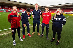 Lucy Graham of Bristol City Women, Lewis Champion of Bristol Flyers, James Dun of Bristol Bears, Jamie Paterson of Bristol City and Mackenzie Carson of Bristol Bears Women during a photo call at Ashton Gate for Red Nose Day - Ryan Hiscott/JMP - 06/03/2019 - SPORT - Ashton Gate Stadium - Bristol, England - Bristol Sport Red Nose Day
