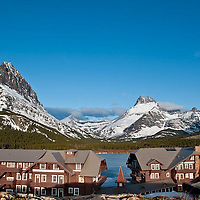 swift current inn, many glacier hotel spring with grinnell mountain, glacier park